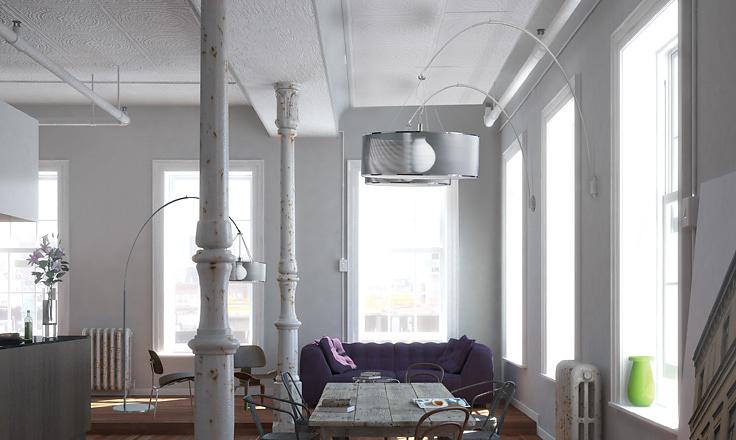 Alessandro Trentin and Carlo Zerbaro Steel Arc Wall Lamp