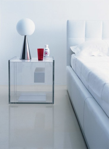Night table with drawer frame in clear methacrylate drawer top and - Diana Eugeni And Ilaria Marelli Segreto 640 Night Table
